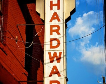 Industrial Wall Decor, Normal Hardware Store, Digital Photography Art Print, Old Sign Photography