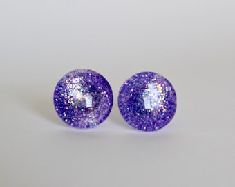 Purple glitter glass stud earrings , glitter studs , purple earrings , purple glitter studs , made by the zadie store , glass studs