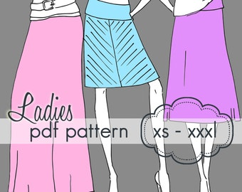 Ladies Yoga A-Line Skirt - INSTANT DOWNLOAD - xs through xxxl, 9 length options knee through maxi - pdf sewing pattern