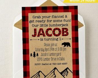 Lumberjack Invitation // Wild One Invitation // Mountain Birthday Invitation // Buffalo Plaid // For ANY Age // Lumberjack 1st Birthday