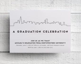 Chicago Graduation Party Invitation, Graduation Invitation, Chicago Invitation, Graduation Dinner, Class of 2017, Graduation Invite