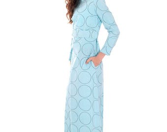 Vintage Vuokko Blue Circles Designer Gown Funnel Neck Hoodie 1960s 38/8