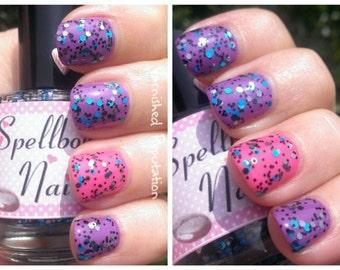 Grin & Bear It - Custom Glitter Nail Polish Alice in Wonderland Cheshire Cat