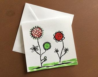 Holiday card, friendship, birthday, flower card card