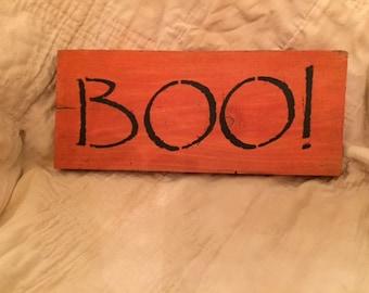 Primitive Halloween Boo Sign