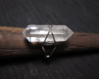 Clear Crystal wirewrapped cuff ring