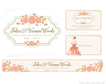 Watercolor Logo with Etsy Shop Design (Banner, Avatar, Reserved Listing), Business Card, Hang Tag, Label Design, Full Branding Package