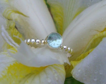 Aquamarine ring - Oasis natural blue aqua in eco friendly sterling silver  - custom made in your size  MARCH birthstone