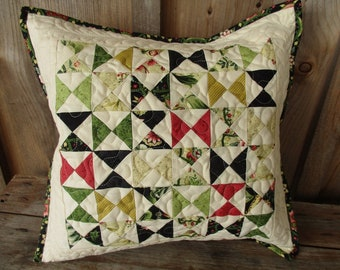 Patchwork Throw Pillow Quilted Pillow Cover Decorative Cushion 14 inch Toss Pillow Quilt Custom Quilting black red gold green cotton pillow