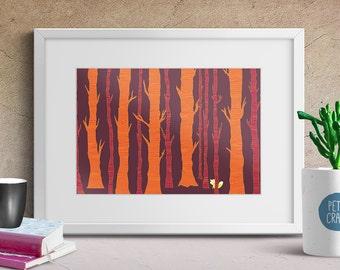 Fox in the Forest, Nursery Art, Animal Print, Digital Download