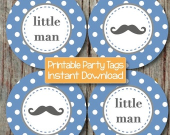 Baby Shower Little Man Mustache Printable Cupcake Toppers diy Little Man Party Mustache Ocean Blue Grey INSTANT DOWNLOAD Decorations 120