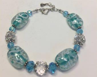 Bracelet Beaded Aquamarine Glass Silver Accents Adjustable
