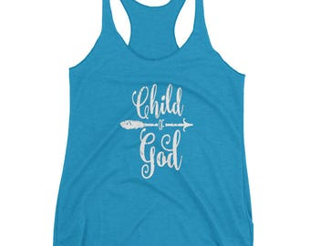 Perfect gift, gift idea, Christian t-shirt, gift idea, workout tee, ladies t-shirt, Child of God Women's tank top