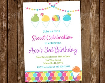 Snow Cone Birthday Party Invitation, Birthday Party Invite, Snowball Party, Snow Cone, Invitation, Birthday, Digital or Printed