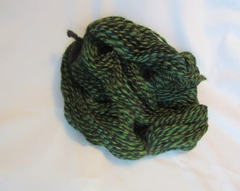2 Ply Handspun Alpaca Yarn - Hand Dyed Greens and Brown - 175 Yds. - Worsted Weight - 9-11 WPI
