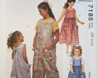 McCall's 7185 Girl's Jumpsuit & Sundress Sewing Pattern Sizes 4 - 6 Uncut