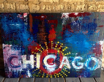"Original 24""x36"" acrylic painting of the Chicago Theater Sign!"