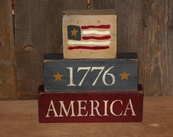 Primitive Americana 1776 Hand Painted Wood Stacking Blocks-4th of July-Patriotic-Primitive Americana Decor