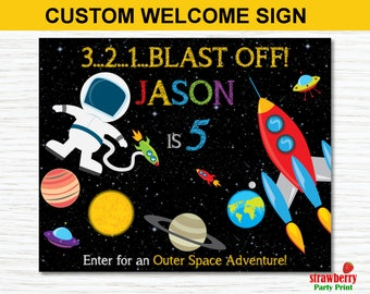 Space Birthday Welcome Sign, Outer Space Birthday Welcome Sign, Rocket Ship Astronaut Birthday, Personalized Welcome Sign Printable