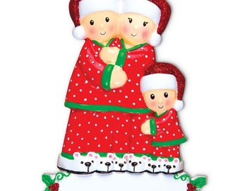 Pajama Family of 3 Personalized Christmas Ornament  Pajama Family Personalized Christmas Ornament - Family of 3 (With 1 Child)