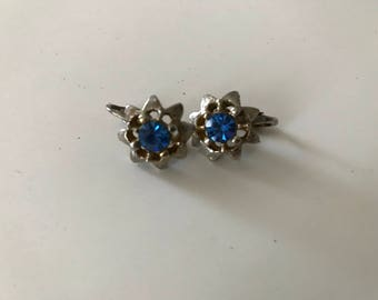 Vintage Blue Rhinestone Earrings Silvertone