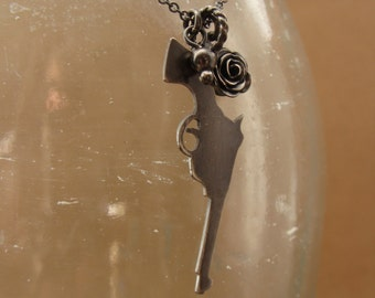 Sadie--Oxidized Sterling Silver Revolver Silhouette Necklace--Rose Charm--Handcrafted