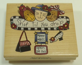 Cats Shop Till You Drop Meow Mall Wood Mounted Rubber Stamp By Inkadinkado Alma Lynne