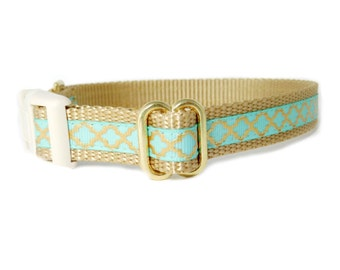 "Puppy Dog Collar, Mint Gold Collar, Moroccan Quatrefoil Plastic Clip Closure, 3/8"" or 1/2"" Collars"