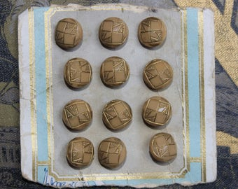 Vintage glass old stock beige buttons on card 12pcs