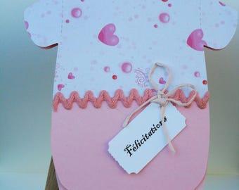"BODYSUIT baby girl handmade - (3) ""Congratulations"" card"