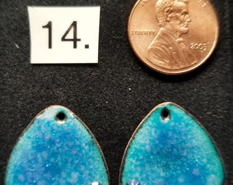 Enameled Earring Components - turquoise and crystals