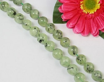 Natural Prehnite  with Turmaline 14mm round Loose Beads