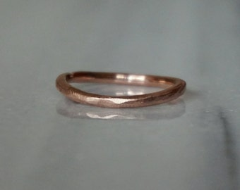 rough band ring in solid 10k rose gold- mark of the maker- wedding ring