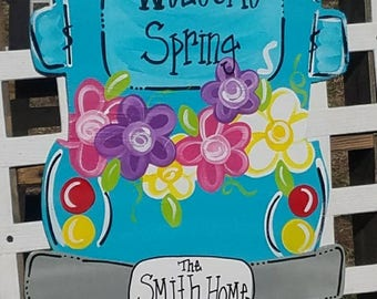 Spring door hanger, welcome spring door hanger, truck door hanger, flower door hanger