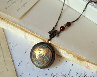 World Map locket necklace with burgundy swarovski pearls christmas gift for her xmas romantic rustic