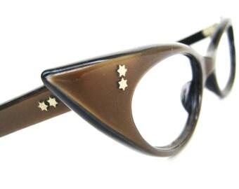 Vintage Cats Eye Eyeglasses Sunglasses Frame Satin Brown