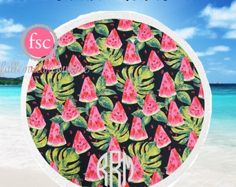 Round Beach Towel ,  WATERMELONS monogrammed beach towel personalized Round Summer Towel , Circle Beach Towel, Bridesmaid gift