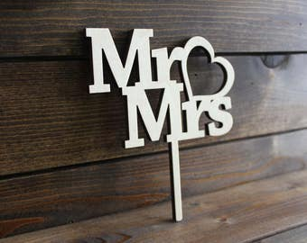 Wedding Cake Topper, Marriage, Bride, Groom, Mrs, Mr, Wood, Wooden, Hearts, Mister, Rustic, Love, Custom