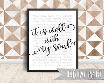 It Is Well With My Soul Print, Printable Wall Decor, Digital Print