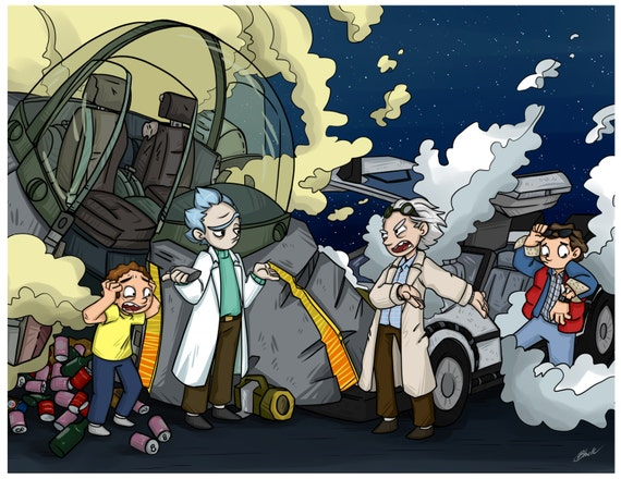 Back To The Future Rick And Morty Fanart Print