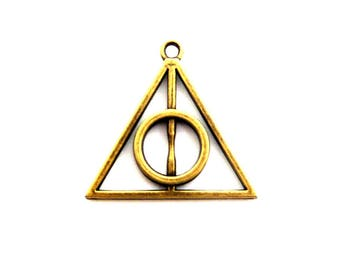 a triangle charm and harry potter bronze 30mm round