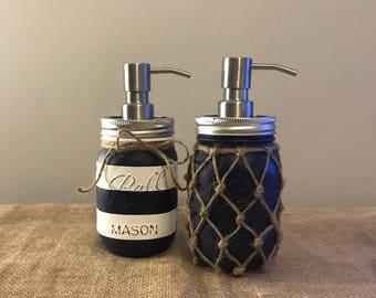Set of Two Nautical Mason Jar Soap Dispenser