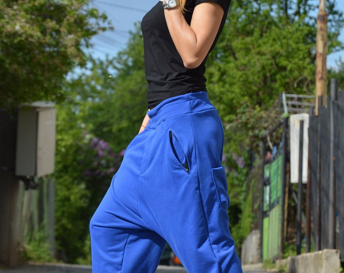 Blue Harem Pants, Drop Crotch Pants, Extravagant Pants, Low Bottom Pants, Urban casual Zipper Pants, Cotton Pants by SSDfashion