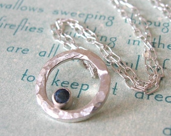 Sapphire Necklace Sterling Silver Hammered Circle Pendant with Lab Created Sapphire