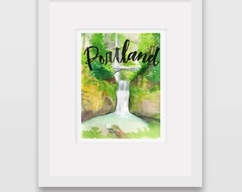 Around the World Watercolor Prints - Portland