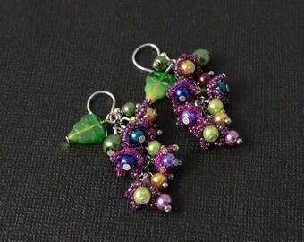 purple bell flower earrings