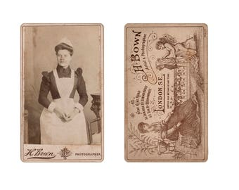 Digital supply, vintage cabinet card, maid, nanny, lady, London photographer, cherub