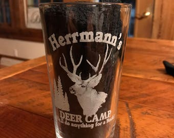 Pint glass with deer camp and your name