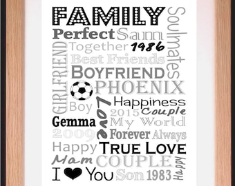Personalised Memories Favourite Moments Block Word Art Gift