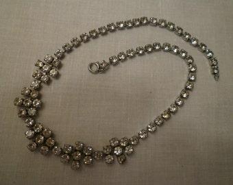 Vintage English Rhinestone Necklace. Jewelry. Elegant Old English Rhinestone Necklace.Gift. Wedding.